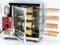 8 &16 Rollers Commercial 110v 220v Electric Ice Cream Cone Chimney Cake Kurtos Kalacs Grill Roll Oven Maker Machine