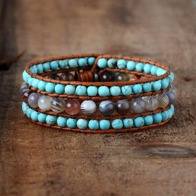 Women Designer Bracelets Natural Stones Botswana Onyx Turqouise Cuff Bracelets Vintage Bohemia Steampunk Bracelet Femme Jewelry