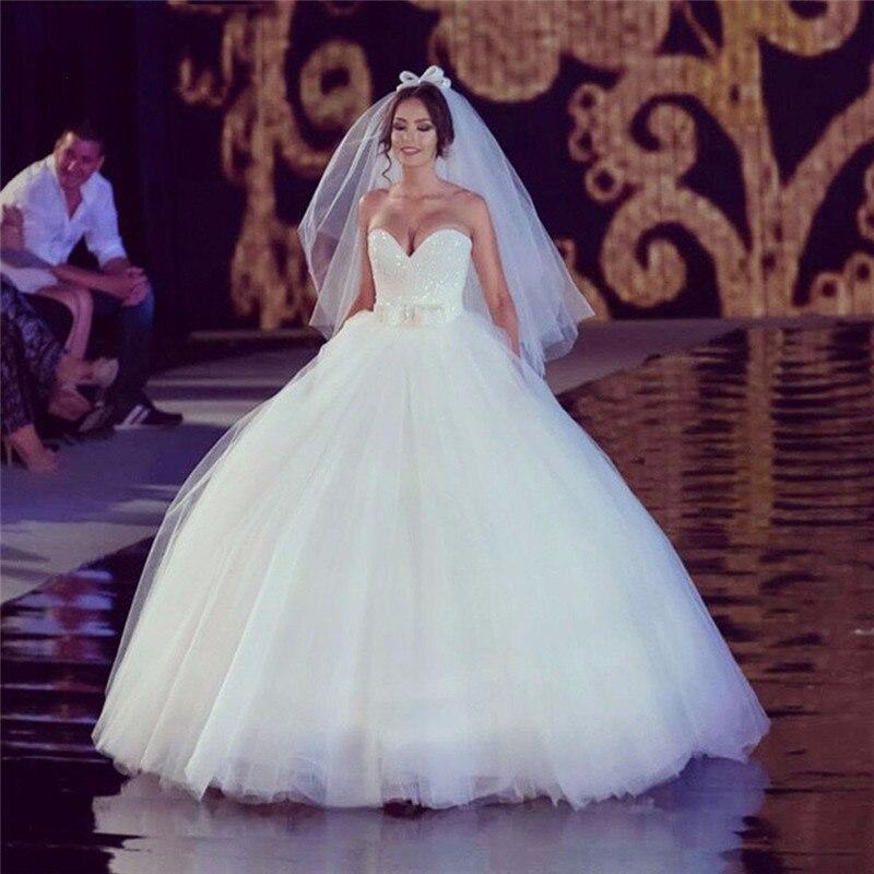 E JUE SHUNG White Sequin Ball Gown Cheap Wedding Dresses 2020 Sweetheart Lace Up Back Wedding Gowns Vestidos De Novia