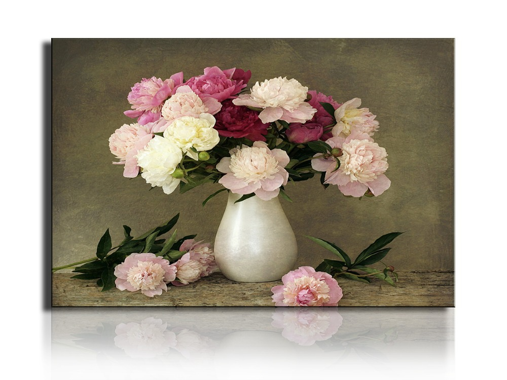 2016 new 1 piece table decoration pink flower art canvas New flower decoration
