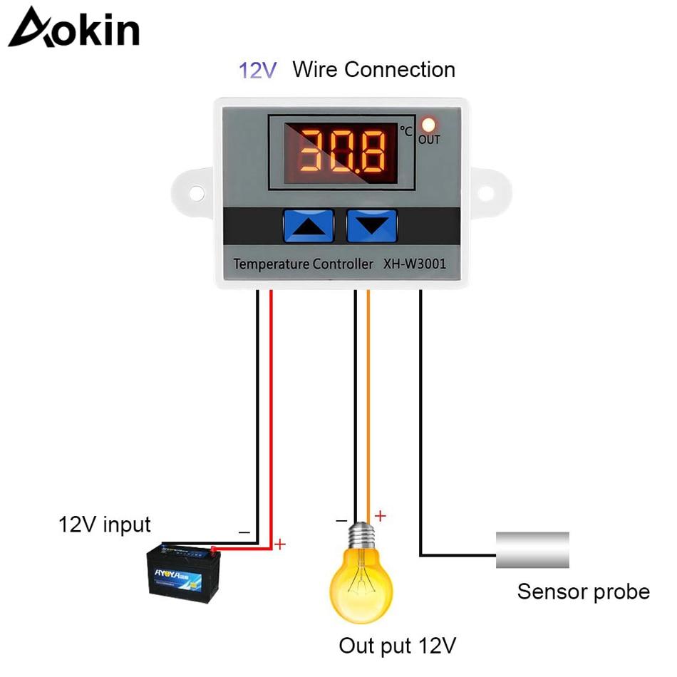 50-110°C 12v Digital Thermostat Temperature Control Switch Sensor C17 NTC 12V