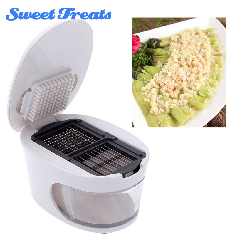 Sweettreast Plastic Garlic Press Presser Crusher Slicer Grater Dicing Slicing Storage Kitchen Fruit Vegetable Cooking Tool