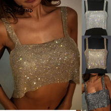 723db07d Nightclub Women Ladies Fashion Tanks Camis Bling Sexy Sparkly Metal Crystal  Rhinestone Metal Chainmail Halter Draped