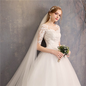 Image 5 - Wedding Dress 2020 New Cheap Mrs Win Half Cap Sleeve Princess Illusion Wedding Dresses Can Custom Made Vestido De Noiva F