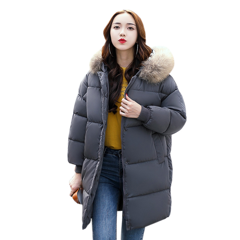 Winter Jacket Women New 2017 Fur collar Hooded Loose Coat Thicken Warm Parka Solid Down Cotton Wadded Plus size Jacket 4L34 plus size 5xl winter jacket women hooded long parka down cotton jacket women fur collar wadded coat parkas abrigos mujer c3762