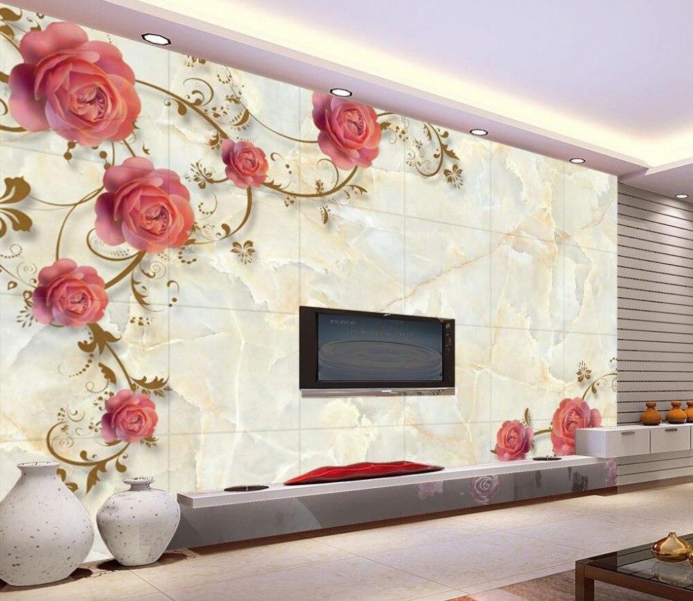 marble rose shading tv backdrop 3d wallpaper flower 3d stereoscopic