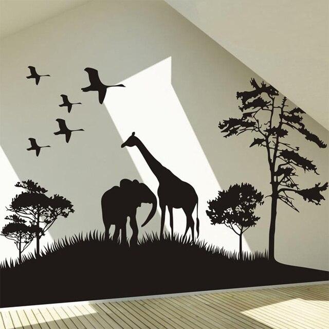 Autocollant mural animal de grande taille | Autocollant mural de grande taille en forme déléphant arbre, stickers dart muraux de décoration de maison