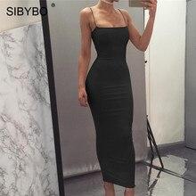 Sibybo Spaghetti Strap Backless Sexy Long Dress Party Off Shoulder Strapless Autumn Maxi Dress Black Bodycon Party Dress Women