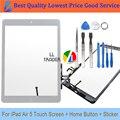 Comerciante ll nuevo panel de cristal frontal de reemplazo para el ipad air ipad 5 5th 9.7 blanco pantalla táctil de la tableta del panel digitalizador adhesivo + Herramientas