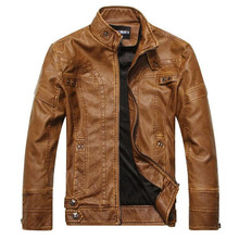 New Fashion Brand Men's Autumn Winter men leather jacket masculino fur coatwinter coat  stand collar jackets coat Clothing