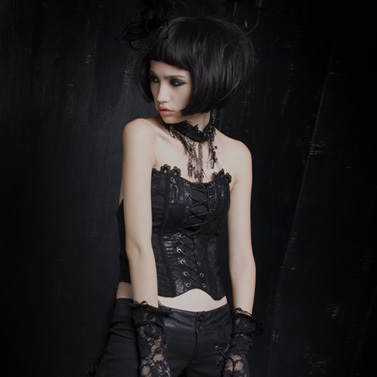 PUNK RAVE Gothic Black Embroidery Lace Skinny Wrapped Chest With blets Y-304