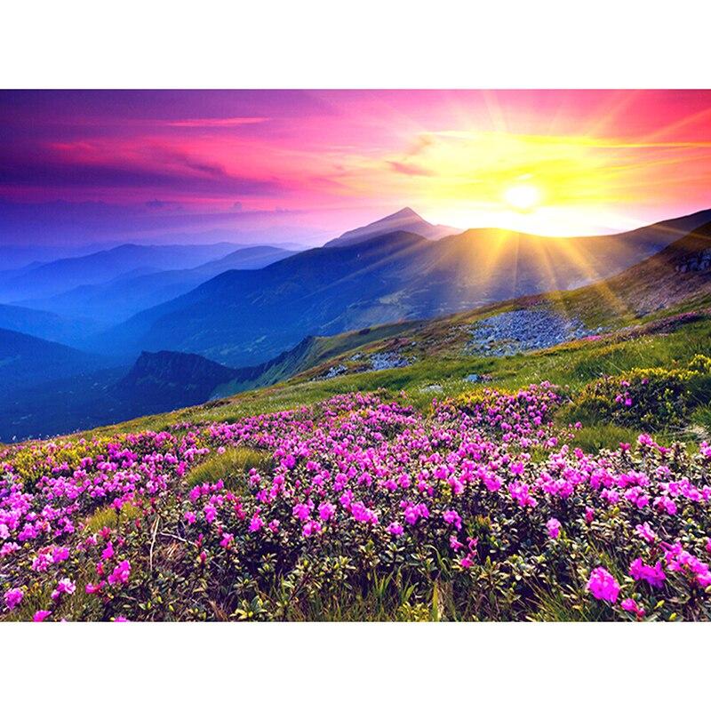 Neue Generation DIY 5D Diamant Stickerei Landschaft Sonnenaufgang und Lila Blumenmuster Malerei Strass Diamant Mosaik Kits zx
