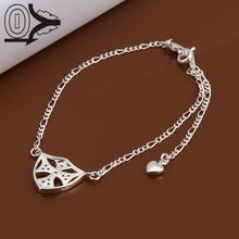 Lose Money!!Wholesale Silver Plated Anklets,Fashion Silver Jewelry,Inlaid Stone Simple Crossing Anklet For Women