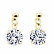 2017 quality praw classic design bridal queen gold color cute Zircon Rhinestones fashion earrings jewelry 80110(China)