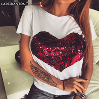LAISIDANTON New Brand Red Sequined Embroidery Short Sleeve T Shirts 2017 Summer Heart Print Women Harajuku