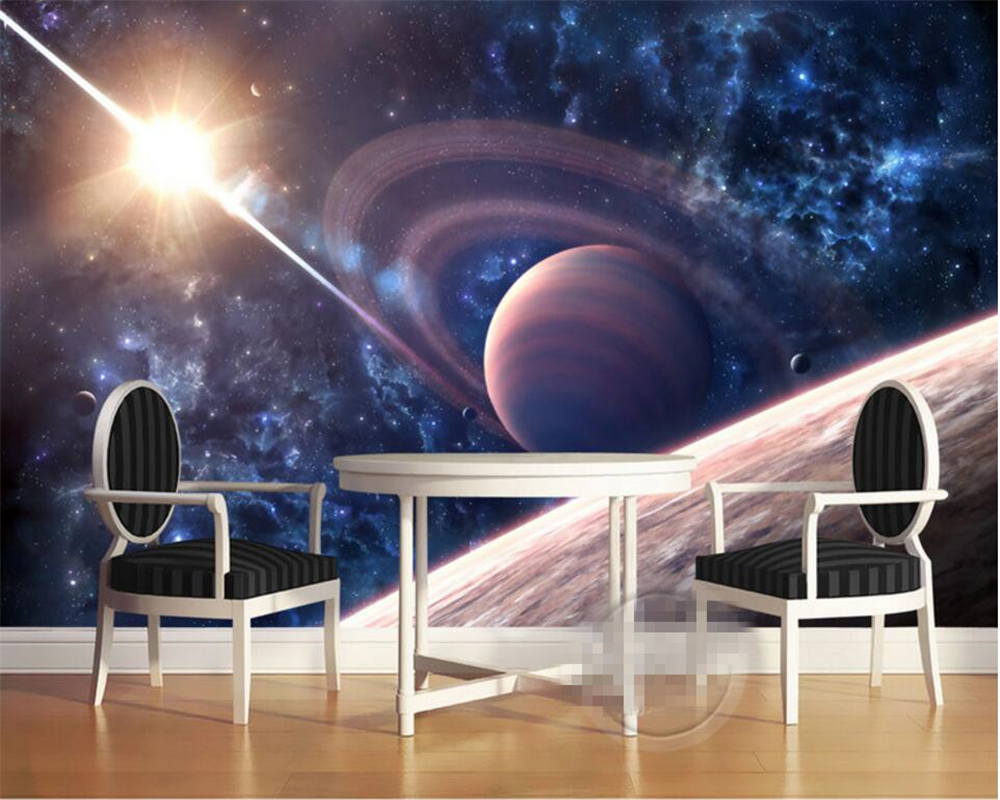 Beibehang 3d photo wallpaper space moon oil paintings for Space wallpaper bedroom