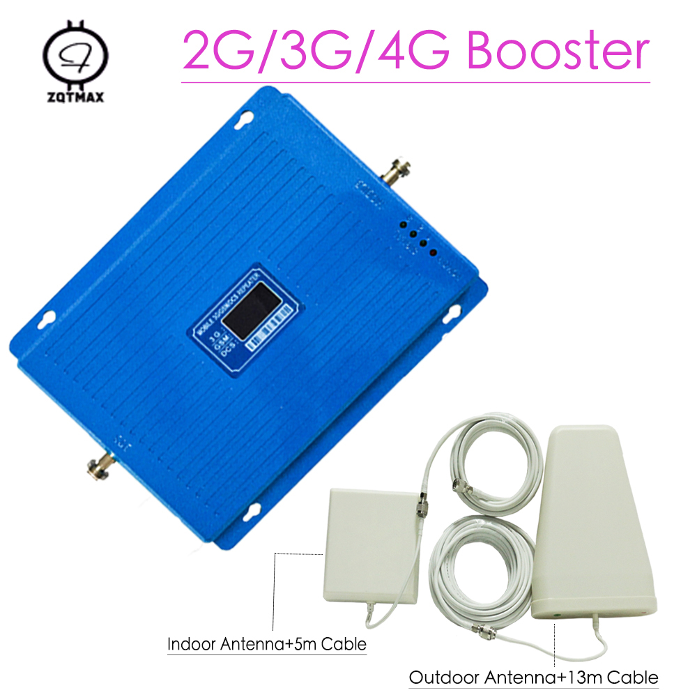 HOT 2G 3G 4G Tri Band Cellular Signal Amplifier GSM900 4G DCS LTE1800 3G WCDMA 2100mhz Cell Phone Signal Booster 70dB Repeater