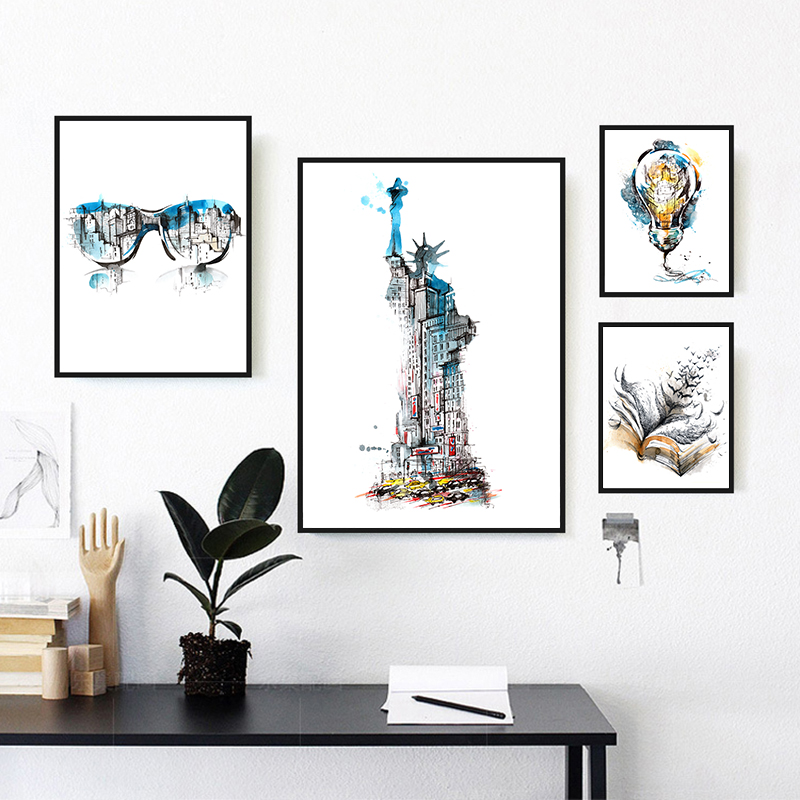 Abstract World Famous Building Character Design Poster Art Canvas Painting Cafe Shop Home Decor On Canvas Modern Print Artworks