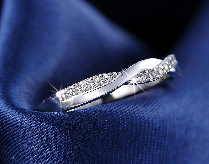 Silver Infinity Ring with Shiny Austrian Zircon Crystal