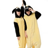 Whole kigurumi shaun the sheep long sleeve hooded onesie Adult flannel cartoon animal pajamas onepiece Kigurumi for adults