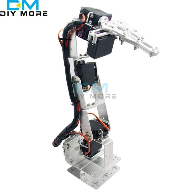 ROT3U 6DOF Aluminium Robot Arm Mechanical Robotic Clamp Claw for Arduino Silver 4 dof wood robotic arm sg90 servo for arduino raspberry pie snam1500