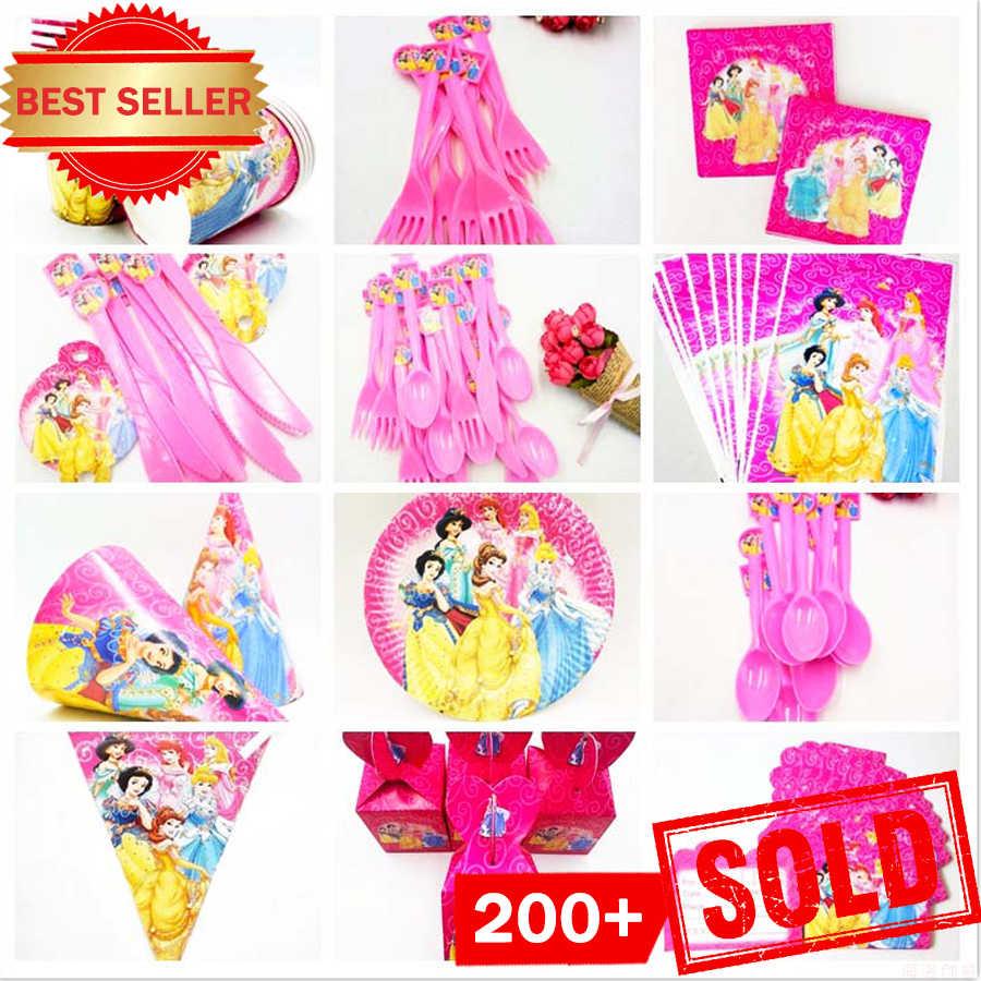 Disney Princess Birthday Party Supplies Decorações Crianças Menina Talheres Descartáveis Toalha de Mesa Placas Copos Bandeira Bebê Chuveiro