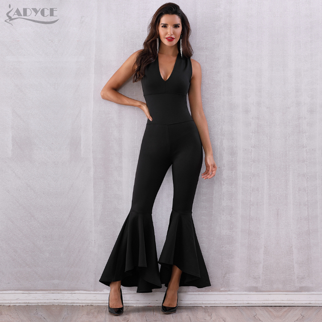 Adyce 2019 Novo Verão As Mulheres Negras Jumpsuit Elegante Longo Sexy Profunda V Neck Backless Celebridade Partido Jumpsuit Rompers Clube Bodysuit
