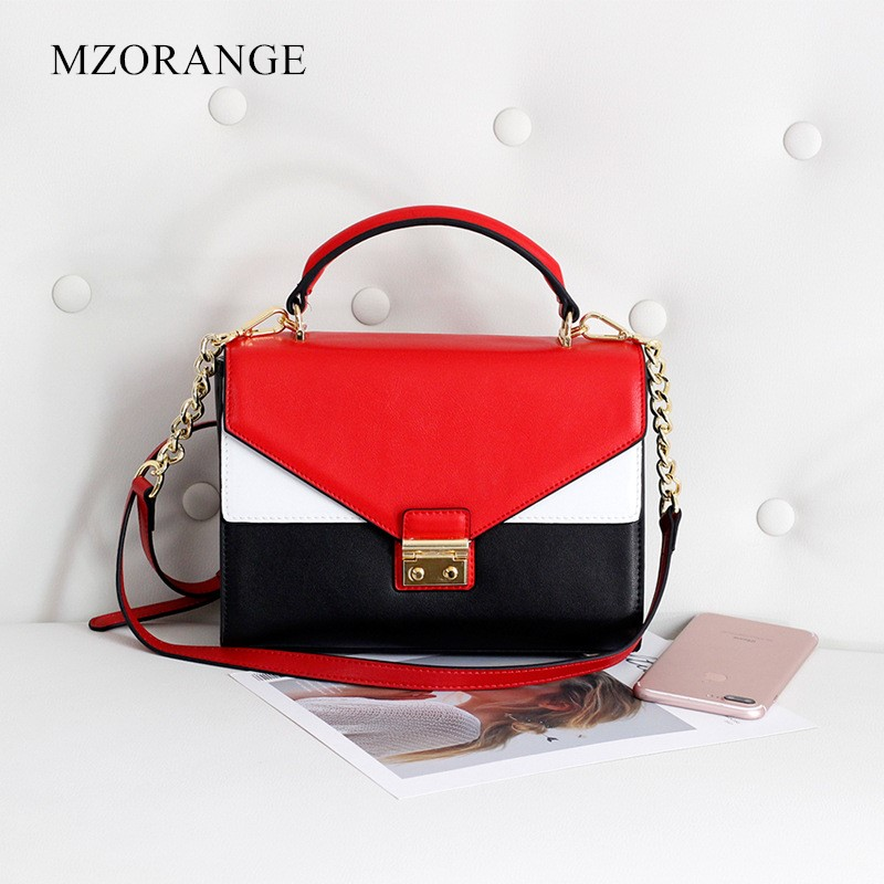 MZORANGE Fashion Genuine Leather Women Handbag Vintage Hit color design Ladies Shoulder Crossbody Bag Metal chain Small Flap bag denim vintage quilted across bag women s blue jean plaid stylish brand fashion flap chain crossbody shoulder bag purse handbag