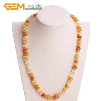 679b16708243 3-5x10-12mm amarillo Jades collar DIY collar de piedra Natural de 18