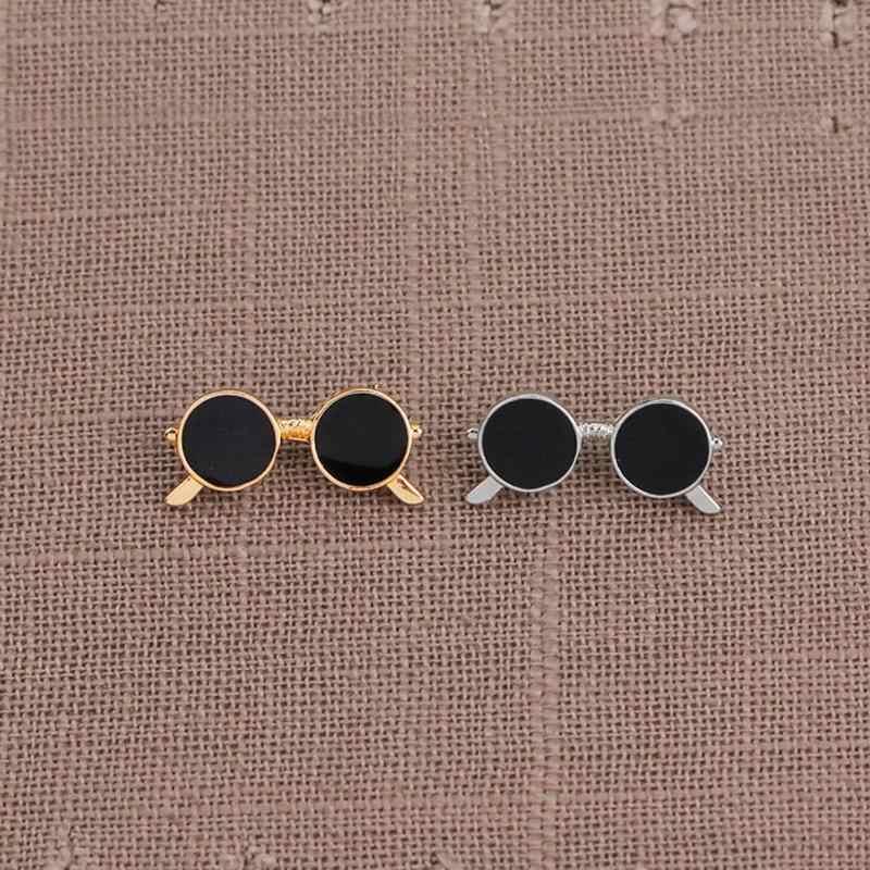 ミニサングラスブローチユニセックスファッション人気パーティースーツシャツ装飾合金ピン漫画ドロップオイルゴールドとシルバーメガネピン