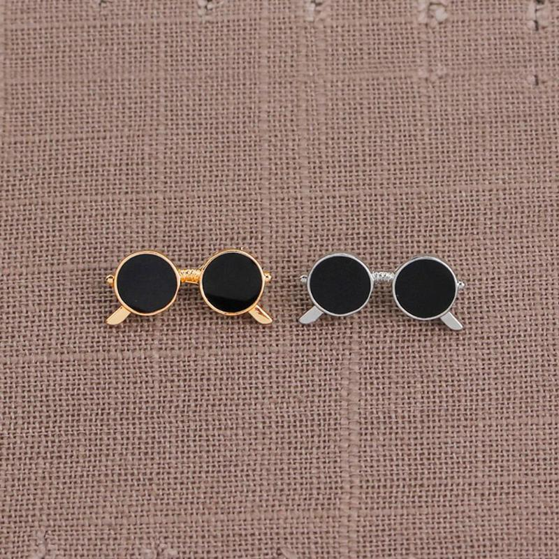Mini sunglasses brooch unisex fashion popular party suit shirt decoration alloy pin cartoon drop oil gold and silver glasses pin 3