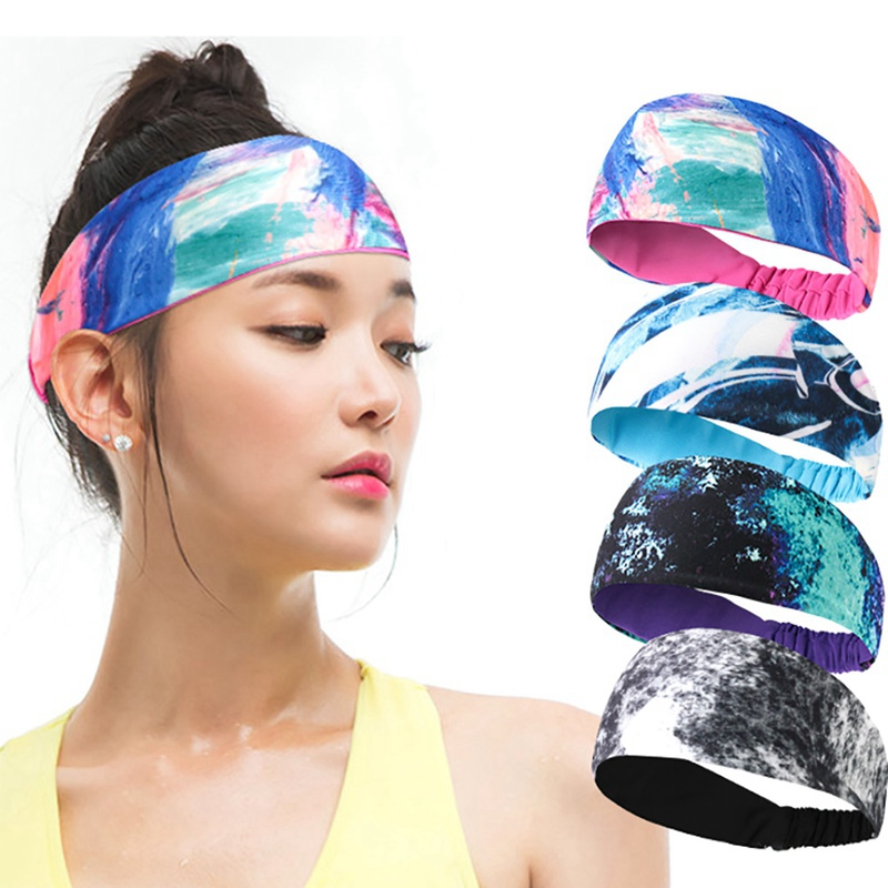 Fitness Athletic Headband Breathable Sweat Absorbent Polyester Spandex Sweatband Hair Band Head Wrap Sportswear Accessory(China)
