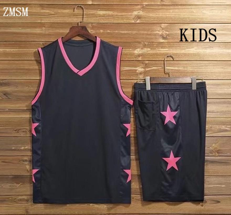 ZMSM 2017 גופיות כדורסל ילדים בגדי סטי ספורט לילדים לנשימה מכנסיים קצרים חולצות מדים כדורסל מותאם אישית DIY AL1722/3