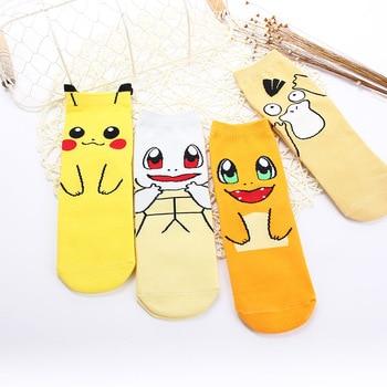 2018 New Fashiol Kawaii Harajuku Pokemon Pikachu Socks 3D Printed Cartoon Women's Tube Socks Novelty Casual Socks Female Meias Women Socks
