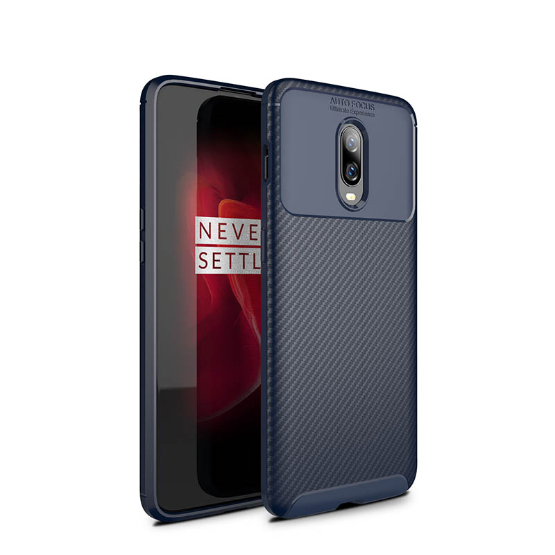 OnePlus 6T Case Shockproof Soft TPU Carbon Fiber Brushed