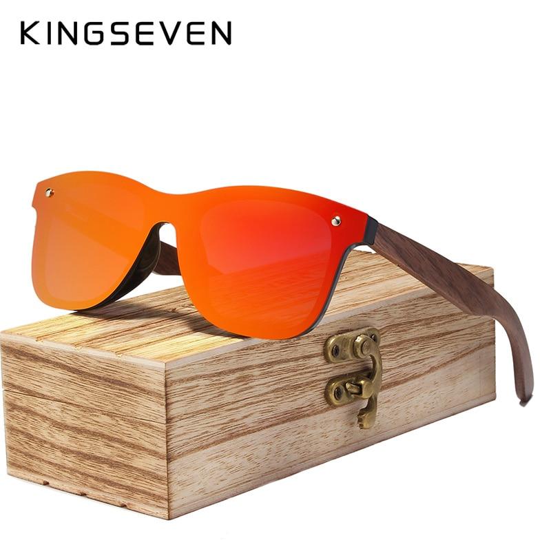 KINGSEVEN 2020 Mens Sunglasses Polarized Walnut Wood Mirror Lens Sun Glasses Women Brand Design Colorful Shades Handmade 8