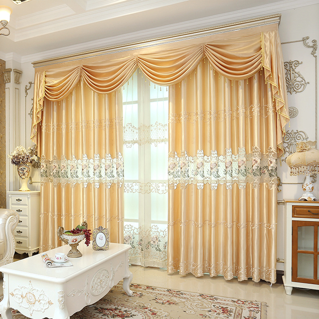 european royal embroidery luxury readymade curtain for living room