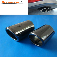 Pair Boomboost Car Tail Exhaust Tip Pipes Titanium Black For BMW 2012 2017 F30/F31/F35