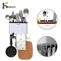 KONCO Dish Drying Rack for Kitchen Utensil Wall Mounted Cutlery Storage Drainer Chopsticks Knives Organizer with Phone Holder