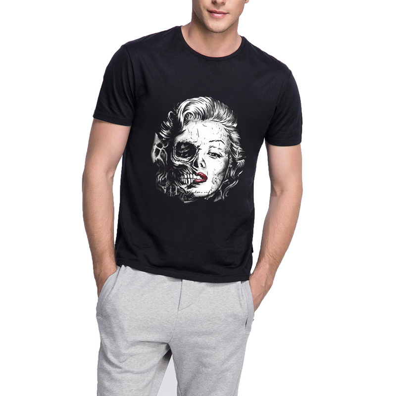 Loo Show Men's Graphic Tee Funny Skulls Marilyn Monroe Black T-Shirt M-WM006