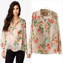 New Fashion Floral Print Chiffon Blouse Shirt Women Elegant Casual Loose Slim Fit Chiffon Shirt Pop Plus Size  Blusas Femininas