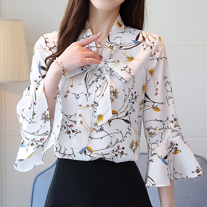 Chiffon Shirt Female Summer 2019 Autumn New V Collar Bow White Printing Chiffon Women Tops Flare Sleeve Blouses Shirt 807A6
