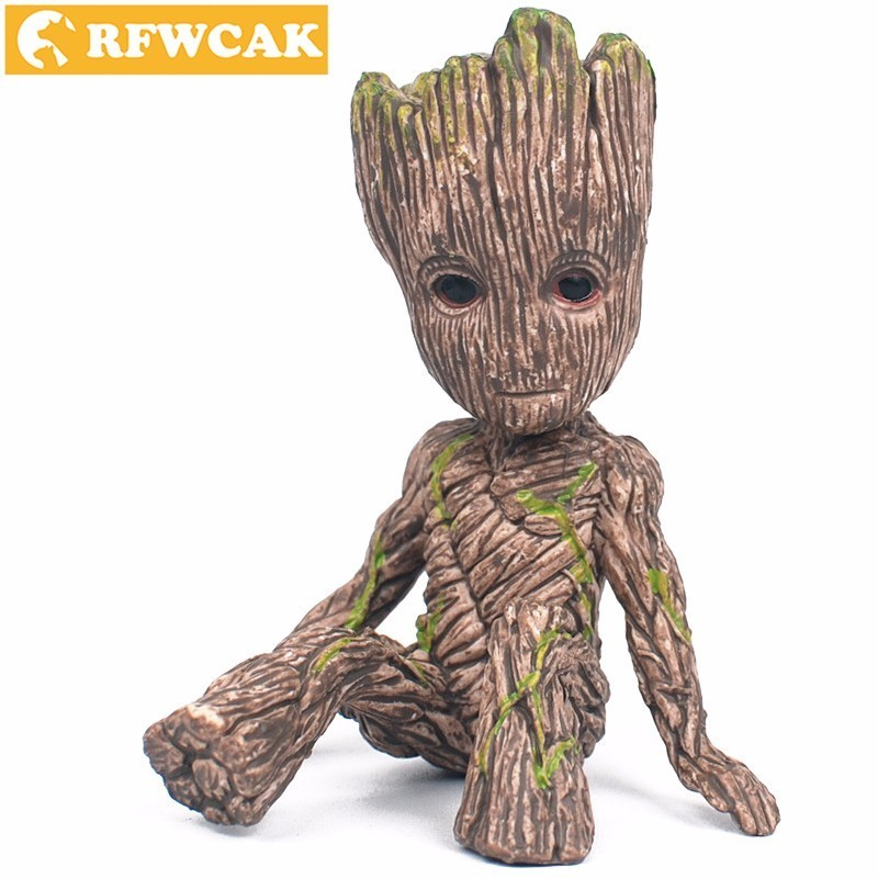 Dropshopping Guardians Galaxy 2 Sitting Tree Ornaments Groot Brown PVC Collectible Cartoon Mini Model Toys Decoration Crafts