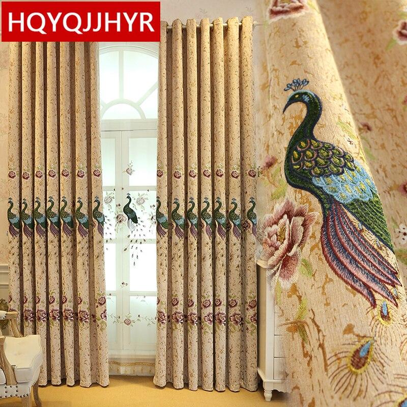 Плотные затемненные шторы из синели в европейском стиле с вышивкой павлина, элегантные занавески для гостиной, спальни, кухни|voile curtain|curtain fabric for kitchenvoile bridal | АлиЭкспресс