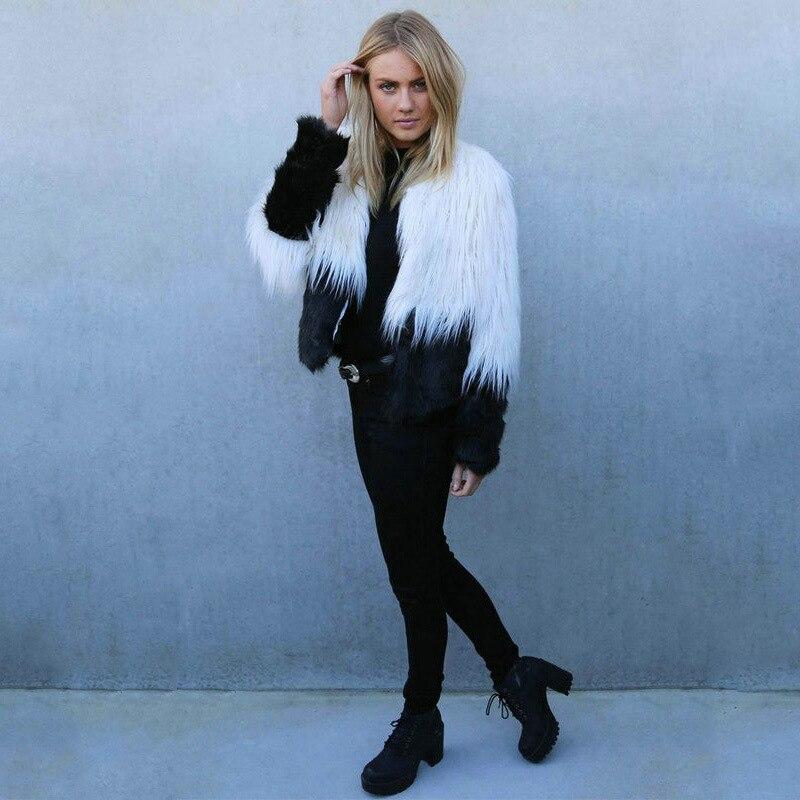 Automne hiver noir blanc fausse fourrure pardessus élégant doux fourrure manteau femmes à manches longues mode manteau veste longue fourrure moelleux manteau