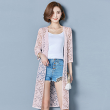 YICIYA Women summer Cover Up beach long jacket lace sexy coat cardigan plus size clothing see through chiffon sunscreen top 2019