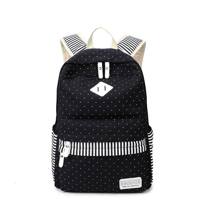 2017 Korean Black Canvas Printing Backpack Women School Bags for Teenage Girls Cute Rucksack Vintage Laptop Backpacks Female deroace велосипедный цепной стальной замок для электрокара электро мотороллера мотора