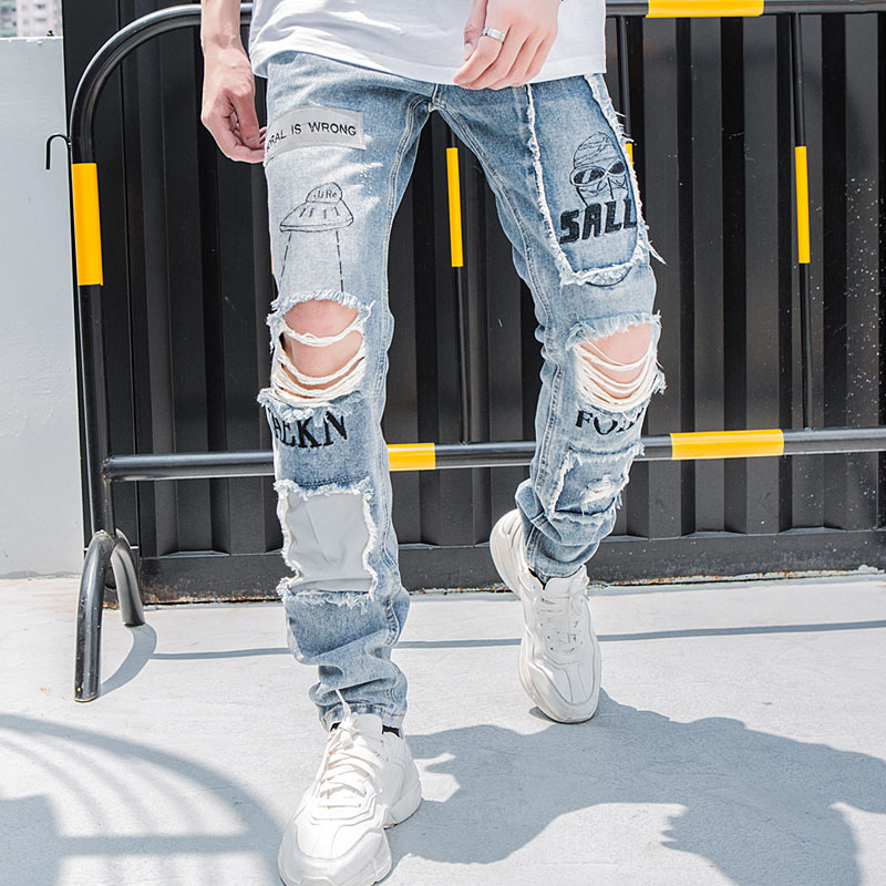 Aolamegs Biker Jeans Men Reflective Hole Denim Pants Mens Vintage Skinny Jeans Baggy Trousers Jean Fashion Streetwear Autumn