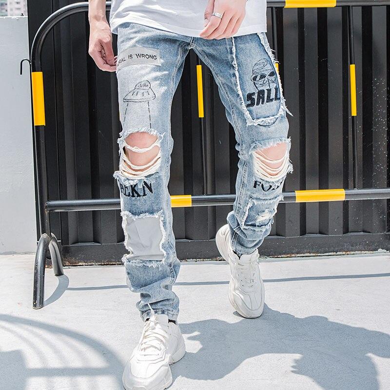 Aolamegs Biker Jeans hommes trou réfléchissant Denim pantalon hommes Vintage Skinny Jeans Baggy pantalon Jean mode Streetwear automne-in Jeans from Vêtements homme on AliExpress - 11.11_Double 11_Singles' Day 1