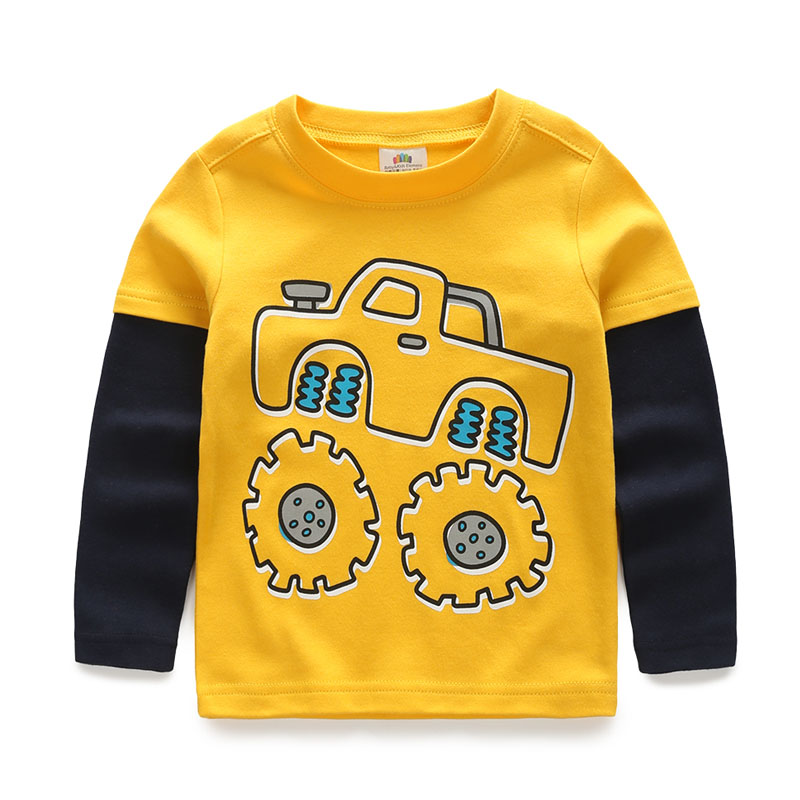 цены на Boys T-shirt Kids Tees Baby Child Boy Cartoon Spring Children Tee Long Sleeve Stitching Cotton Cars Trucks Striped Autumn Shirt в интернет-магазинах